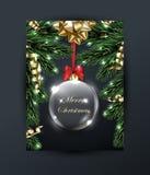 Η Χαρούμενα Χριστούγεννα και η ευχετήρια κάρτα καλής χρονιάς με με τα Χριστούγεννα διακλαδίζονται, με το χρυσό τόξο, με τα Χριστο Στοκ φωτογραφία με δικαίωμα ελεύθερης χρήσης