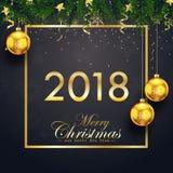 Η Χαρούμενα Χριστούγεννα και η κάρτα καλής χρονιάς το 2018 με το έλατο διακλαδίζονται και χρυσές σφαίρες Χριστουγέννων στο μαύρο  διανυσματική απεικόνιση