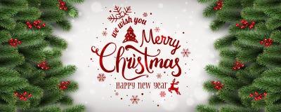 Η Χαρούμενα Χριστούγεννα και το νέο έτος τυπογραφικές στο άσπρο υπόβαθρο με το έλατο διακλαδίζονται, μούρα, φω'τα, snowflakes διανυσματική απεικόνιση