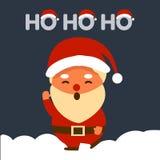 Η Χαρούμενα Χριστούγεννα με Άγιο Βασίλη λέει Ho Ho Ho, χαριτωμένος χαρακτήρας ελεύθερη απεικόνιση δικαιώματος
