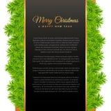 Η Χαρούμενα Χριστούγεννα που χαιρετά το σχέδιο με το πράσινο δέντρο πεύκων βγάζει φύλλα Στοκ Εικόνες