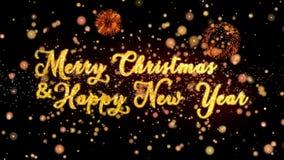 Η Χαρούμενα Χριστούγεννα & τα αφηρημένα μόρια καλής χρονιάς και ακτινοβολούν κείμενο ευχετήριων καρτών πυροτεχνημάτων ελεύθερη απεικόνιση δικαιώματος