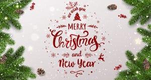 Η Χαρούμενα Χριστούγεννα τυπογραφική στο άσπρο υπόβαθρο με το δέντρο διακλαδίζεται, μούρα, κιβώτια δώρων, αστέρια, κώνοι πεύκων Χ ελεύθερη απεικόνιση δικαιώματος