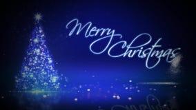 Η Χαρούμενα Χριστούγεννα χριστουγεννιάτικων δέντρων μορίων εκρήγνυται 4K το βρόχο ελεύθερη απεικόνιση δικαιώματος