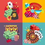 Η χαρτοπαικτική λέσχη που παίζει τη διανυσματική έννοια που τίθεται με κερδίζει τα επίπεδα εικονίδια τζακ ποτ χρημάτων Στοκ εικόνες με δικαίωμα ελεύθερης χρήσης