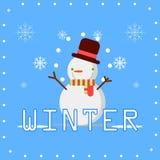 Η χειμερινή εποχή με το χιονάνθρωπο διανυσματική απεικόνιση