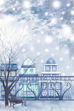 Η χειμερινή πόλη κοιτάζει πέρα από το φράκτη - γραφική σύσταση ζωγραφικής διανυσματική απεικόνιση