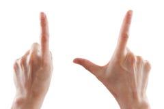 Η χειρονομία, χέρι της γυναίκας δείχνει την κατεύθυνση ή το ζουμ, συσκευές αφής στοκ φωτογραφίες