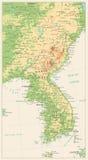 Η χερσόνησος της Κορέας απαρίθμησε το φυσικό χάρτη που απομονώθηκε στο αναδρομικό άσπρο Γ Στοκ Εικόνα