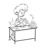 Η χημεία, μαθητής αγοριών χύνει τα φιαλίδια Στοκ Εικόνα