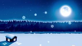 Η χιονώδης σκηνή νύχτας τελειοποιεί το δεύτερο βρόχο 5 κανέναν εξασθενίζει απόθεμα βίντεο