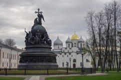 Η χιλιετία μνημείων της Ρωσίας με τον καθεδρικό ναό του ST Sophia Στοκ Φωτογραφία