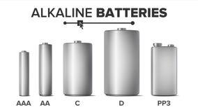 Η χλεύη αλκαλικών μπαταριών έθεσε επάνω διανυσματικός Διαφορετικό Αντιαεροπορικό Πυροβολικό τύπων, AA, Γ, Δ, ελεύθερη απεικόνιση δικαιώματος