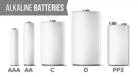 Η χλεύη αλκαλικών μπαταριών έθεσε επάνω διανυσματικός Διαφορετικό Αντιαεροπορικό Πυροβολικό τύπων, AA, Γ, Δ, PP3, 9 βολτ Κλασική  απεικόνιση αποθεμάτων