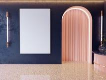Η χλεύη επάνω στα πλαίσια αφισών στο εσωτερικό υπόβαθρο hipster, Σκανδιναβικό ύφος, τρισδιάστατο δίνει, τρισδιάστατη απεικόνιση στοκ εικόνα