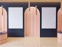 Η χλεύη επάνω στα πλαίσια αφισών στο εσωτερικό υπόβαθρο hipster, Σκανδιναβικό ύφος, τρισδιάστατο δίνει, τρισδιάστατη απεικόνιση στοκ εικόνες