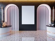 Η χλεύη επάνω στα πλαίσια αφισών στο εσωτερικό υπόβαθρο hipster, Σκανδιναβικό ύφος, τρισδιάστατο δίνει, τρισδιάστατη απεικόνιση στοκ εικόνα με δικαίωμα ελεύθερης χρήσης
