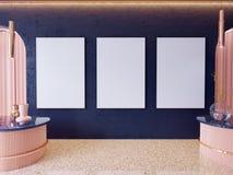 Η χλεύη επάνω στα πλαίσια αφισών στο εσωτερικό υπόβαθρο hipster, Σκανδιναβικό ύφος, τρισδιάστατο δίνει, τρισδιάστατη απεικόνιση στοκ εικόνες με δικαίωμα ελεύθερης χρήσης