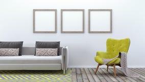 Η χλεύη επάνω στην αφίσα, σύγχρονο καθιστικό, τρισδιάστατο δίνει Στοκ Εικόνα