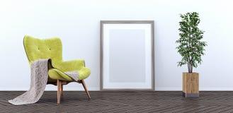 Η χλεύη επάνω στην αφίσα, σύγχρονο καθιστικό, τρισδιάστατο δίνει Στοκ Εικόνες