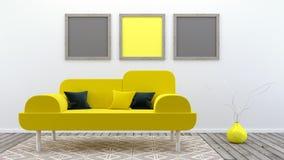 Η χλεύη επάνω στην αφίσα, σύγχρονο καθιστικό, τρισδιάστατο δίνει Στοκ εικόνες με δικαίωμα ελεύθερης χρήσης