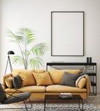 η χλεύη επάνω στο πλαίσιο αφισών στο εσωτερικό υπόβαθρο hipster, καθιστικό, Σκανδιναβικό ύφος, τρισδιάστατο δίνει, τρισδιάστατη α ελεύθερη απεικόνιση δικαιώματος