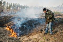 Η χρήση πυροσβεστών βγάζει φύλλα τον κλάδο για την καταστολή δασικής πυρκαγιάς Στοκ φωτογραφίες με δικαίωμα ελεύθερης χρήσης