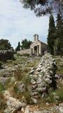 Η χριστιανική εκκλησία καταστρέφει κοντά στο φρούριο Spanjola, Hvar Κροατία Στοκ εικόνα με δικαίωμα ελεύθερης χρήσης