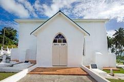 Η χριστιανική εκκλησία νήσων Κουκ (CICC) στη λιμνοθάλασσα Aitutaki Cook είναι Στοκ Εικόνες