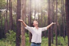 Η χριστιανική λατρεία με αυξημένος παραδίδει τη δασική, ευτυχή γυναίκα de πεύκων στοκ εικόνες