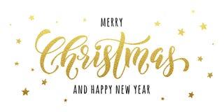 Η χρυσή ευχετήρια κάρτα Χαρούμενα Χριστούγεννας, αφίσα ακτινοβολεί Στοκ Φωτογραφία