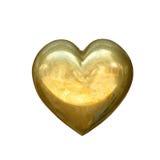 η χρυσή καρδιά απομόνωσε το λευκό Στοκ φωτογραφία με δικαίωμα ελεύθερης χρήσης