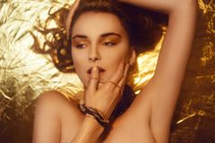 Η χρυσή μόδα Makeup, το πρόσωπο ομορφιάς τέχνης και τα χείλια αποτελούν στο χρυσό μπροκάρ Χρυσό πορτρέτο προσώπου γυναικών δερμάτ στοκ εικόνα