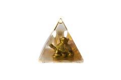 Η χρυσή χελώνα στην πυραμίδα με το νερό απομόνωσε το άσπρο υπόβαθρο Στοκ εικόνες με δικαίωμα ελεύθερης χρήσης