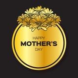 Η χρυσή Floral ευχετήρια κάρτα φύλλων αλουμινίου - διεθνής ευτυχής ημέρα μητέρων - με τη δέσμη της άνοιξης ανθίζει ελεύθερη απεικόνιση δικαιώματος