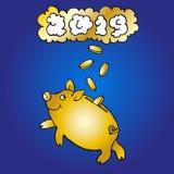 Η χρυσή piggy τράπεζα πιάνει τα νομίσματα στο σκούρο μπλε υπόβαθρο απεικόνιση αποθεμάτων
