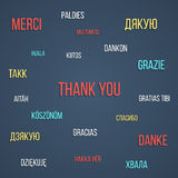Η χρωματισμένη εγγραφή σας ευχαριστεί στις διαφορετικές γλώσσες απεικόνιση αποθεμάτων