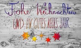 Η χρωματισμένη καλλιγραφία Gutes Neues σημαίνει καλή χρονιά Στοκ Εικόνα