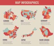 Η χώρα χαρτογραφεί το infographic πρότυπο ΗΠΑ, Ιαπωνία, Καναδάς, Κίνα, Γερμανία, Σαουδική Αραβία Επιλέξιμα εδάφη διάνυσμα Στοκ εικόνες με δικαίωμα ελεύθερης χρήσης