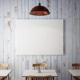 Η χλεύη επάνω στις αφίσες με το αναδρομικό εσωτερικό υπόβαθρο εστιατορίων καφέδων hipster, τρισδιάστατο δίνει Στοκ Εικόνες
