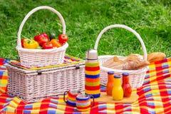 η χλόη γευμάτων αγοριών έχει λίγη picnic μεσημεριού λιβαδιών πίτσα δύο picnic ψωμιού καλαθιών λαχανι&kapp Α Στοκ Εικόνες