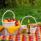 η χλόη γευμάτων αγοριών έχει λίγη picnic μεσημεριού λιβαδιών πίτσα δύο picnic ψωμιού καλαθιών λαχανι&kapp Α Στοκ φωτογραφία με δικαίωμα ελεύθερης χρήσης