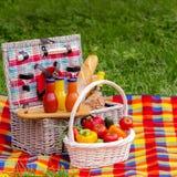 η χλόη γευμάτων αγοριών έχει λίγη picnic μεσημεριού λιβαδιών πίτσα δύο picnic ψωμιού καλαθιών λαχανι&kapp Α Στοκ Φωτογραφία