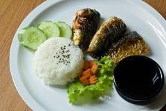 Η ψημένη στη σχάρα Saba με το ρύζι Στοκ Εικόνες