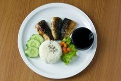 Η ψημένη στη σχάρα Saba με το ρύζι Στοκ φωτογραφίες με δικαίωμα ελεύθερης χρήσης