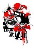 Η ψηφιακή τέχνη δεν ξανακοιτάζει grunge ο κόκκινος Μαύρος παπαρουνών απεικόνιση αποθεμάτων