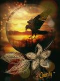 Η ψηφιακή τέχνη μου ενός κόρακα και ενός ηλιοβασιλέματος διανυσματική απεικόνιση