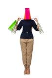 Η ψηλή γυναίκα με τις πλαστικές τσάντες που απομονώνεται στο λευκό Στοκ Εικόνα