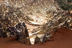 Η όμορφη άποψη της διάβρωσης φαραγγιών αυλακώνει, στην επιφύλαξη Tsingy Ankarana, Μαδαγασκάρη Στοκ Φωτογραφίες