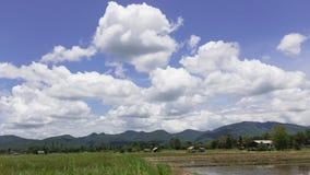 Η όμορφη άποψη τομέων ρυζιού έχει ένα συμπαθητικό σύννεφο στη βόρεια Ταϊλάνδη Στοκ φωτογραφία με δικαίωμα ελεύθερης χρήσης